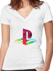 Playstation Logo Vaporwave Women's Fitted V-Neck T-Shirt