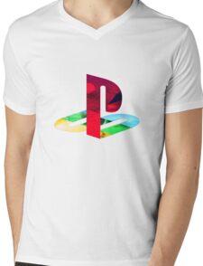 Playstation Logo Vaporwave Mens V-Neck T-Shirt