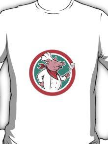 Pig Chef Cook Holding Spatula Circle Cartoon T-Shirt