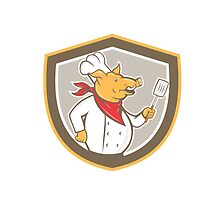 Pig Chef Cook Holding Spatula Shield Cartoon by patrimonio