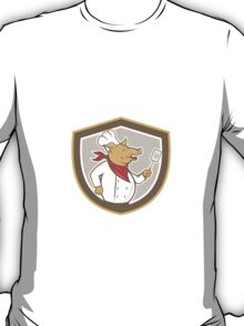 Pig Chef Cook Holding Spatula Shield Cartoon T-Shirt