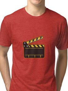 Movie Camera Slate Clapper Board Open Retro Tri-blend T-Shirt