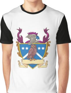 Owl Perching Knight Helmet Crest Drawing Graphic T-Shirt