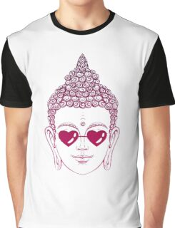 Buddha wearing glasses in the shape of hearts Graphic T-Shirt
