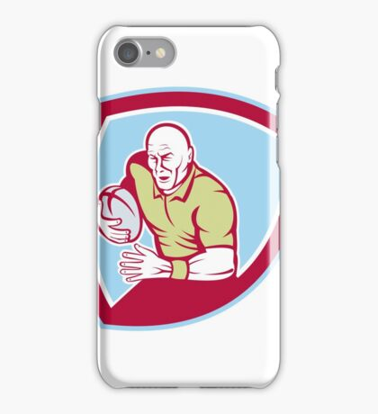 Rugby Player Running Charging Shield Cartoon iPhone Case/Skin