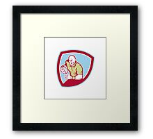 Rugby Player Running Charging Shield Cartoon Framed Print