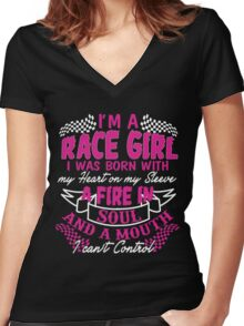 I'm a race girl I was born with my heart on my Sleeve Women's Fitted V-Neck T-Shirt