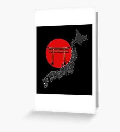 Japon, carte, rond rouge et torii, fond noir Greeting Card