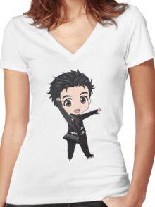 Yuri!!! on Ice Chibi Yuuri Women's Fitted V-Neck T-Shirt