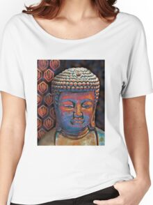 Buddha in Burnt Sienna and Blue Women's Relaxed Fit T-Shirt