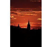 Silhouette old burg Sibiu Photographic Print