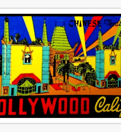 Hollywood Chinese Theatre Vintage Travel Decal Sticker