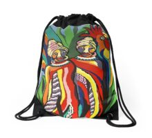 African Traditional Tribal Women Abstract Art Canvas Painting for Women, Girls, Ladies, Kids 2 Drawstring Bag