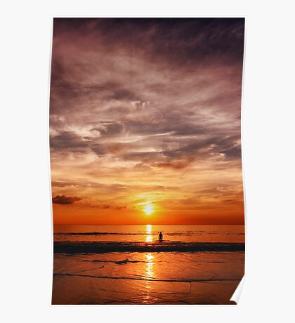 Epic sunset at the sea coast Poster