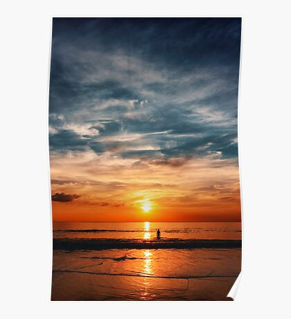 Epic sunset at the ocean Poster