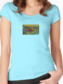 Tree & Yellow Sky, by (Mickeys Art And Design) Women's Fitted Scoop T-Shirt
