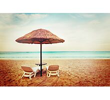 Tropical beach view. Two beach chairs. Photographic Print