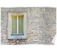 Framed window on a stone wall Poster