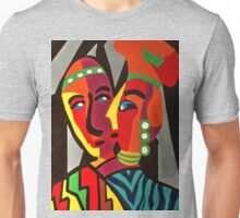 African Traditional Tribal Women Abstract Art Canvas Painting for Women, Girls, Ladies, Kids 4 Unisex T-Shirt