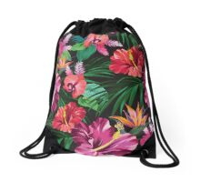 take me with you. Tropical print Drawstring Bag
