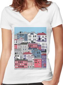 Doodle town Women's Fitted V-Neck T-Shirt