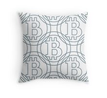 Geometric pattern of colored bitcoins Throw Pillow