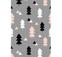 Winter Forest in Pink, Black, White and Gray Photographic Print