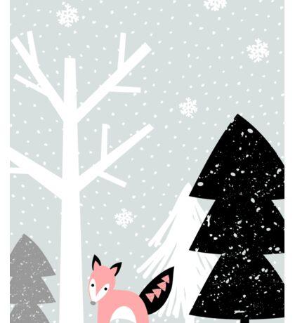 Winter Forest Scene Sticker