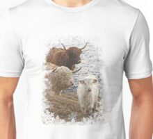 Highland Cow Family in Snow Unisex T-Shirt