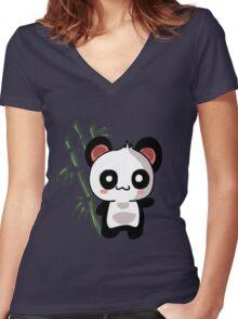 Panda Kawaii Women's Fitted V-Neck T-Shirt