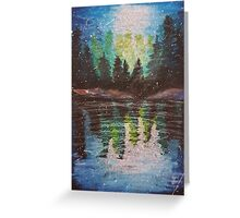Oil Pastel Lake Reflections Greeting Card
