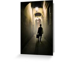 Victorian man with top hat carrying a suitcase in the alley Greeting Card