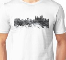 Busan skyline in black watercolor on white background Unisex T-Shirt