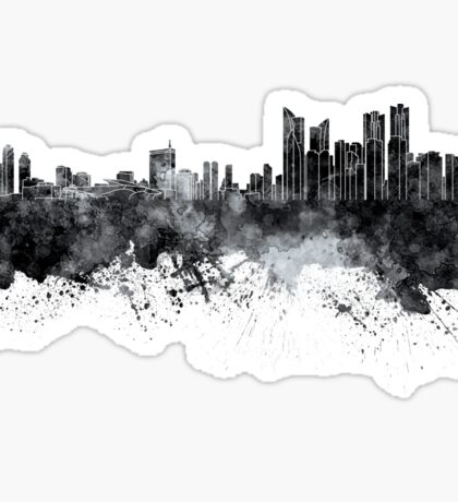 Busan skyline in black watercolor on white background Sticker