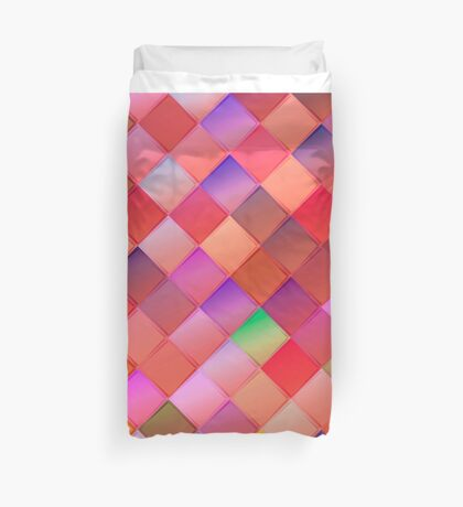 Pattern with pink squares.Trendy hipster print. Modern graphic design. Duvet Cover