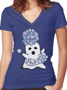 Bubble Ghost  Women's Fitted V-Neck T-Shirt