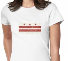Washington DC Flag w/ Vintage Map  Womens Fitted T-Shirt