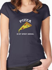 Pizza is my spirit animal Women's Fitted Scoop T-Shirt