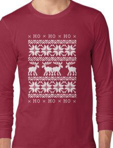 CHRISTMAS DEER KNITTED SWEATER PATTERN Long Sleeve T-Shirt