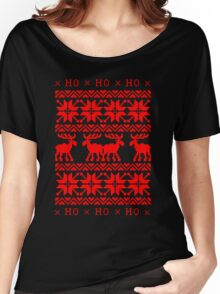 CHRISTMAS DEER SWEATER KNITTED PATTERN Women's Relaxed Fit T-Shirt