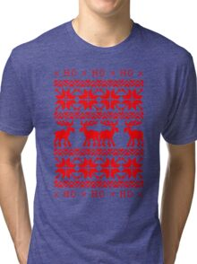 CHRISTMAS DEER SWEATER KNITTED PATTERN Tri-blend T-Shirt