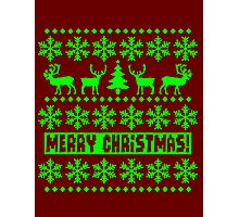 MERRY CHRISTMAS DEER SWEATER KNITTED PATTERN Photographic Print
