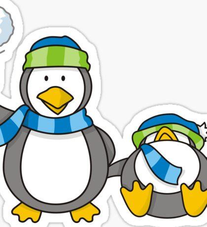 Snowballing penguins Sticker