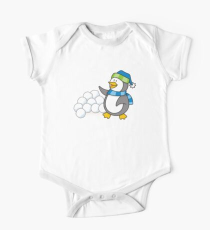 Little penguin with snow balls waving One Piece - Short Sleeve