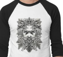 The Green Man B/W Men's Baseball ¾ T-Shirt