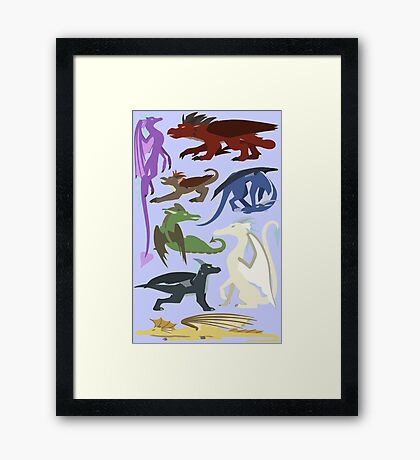 Colourful Dragons Framed Print