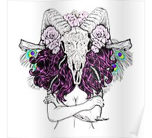Beautiful woman with long hair and horns Poster