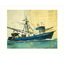 GEORGE ALLEN Fishing Boat Cathy Peek Nautical Chart Map Oregon Art Print