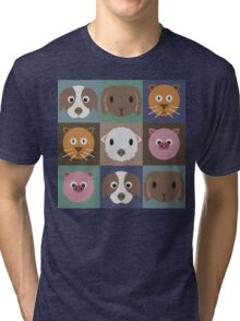 Animal Face Pattern Tri-blend T-Shirt