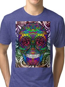 Rainbow Color Candy Skull with Abstract Colorful Background Tri-blend T-Shirt